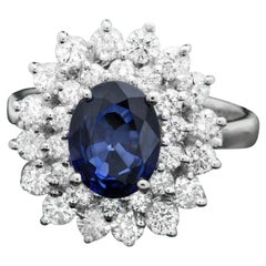 3.10 Carats Natural Blue Sapphire and Diamond 14K Solid White Gold Ring