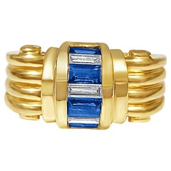 Baguette Cut Natural Diamond and Blue Sapphire Ring in 18k Solid Gold