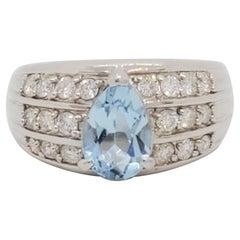 Aquamarine Pear and White Diamond Ring in Platinum