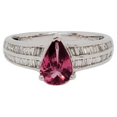 Pink Sapphire and White Diamond Ring in 18k White Gold