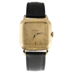 Gubelin 18k Yellow Gold Men's Hand-Winding Watch w/ Leather Band #320