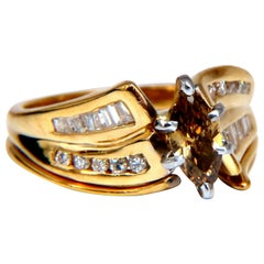 .90ct Natural Fancy Color Yellow Brown Diamond Ring 14kt