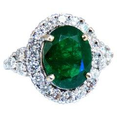 6.68ct Natural Vivid Green Emerald Diamonds Cluster Halo Ring 14kt