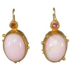 Opal Pink Sapphire 22 Karat Gold One-of-a-Kind Dangle Drop Earrings