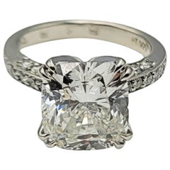 Platinum 5.11 Ct Cushion Cut Diamond Engagement Ring
