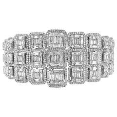 Baguette Diamond 7.04 Ct. Clamper Bracelet 18 Karat 41.25 Gram White Gold