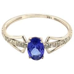 Tanzanite and Diamond Ring in 18K White Gold
