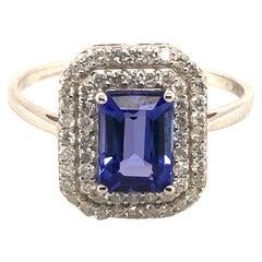 Tanzanite & White Diamond Ring in 18K White Gold