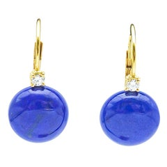 18k Yellow Gold Diamond and Lapis Lazulis Drop Earring
