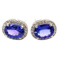 Tanzanite & White Diamond Earring in 18K White Gold
