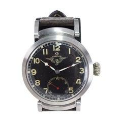 Omega Steel Custom Cased Oversized Wrist Watch Movement from 1900's
