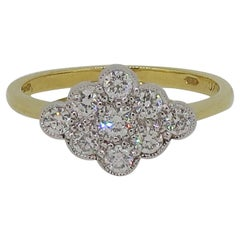Diamond Edwardian Style Cluster Ring 18 Karat Yellow and White Gold