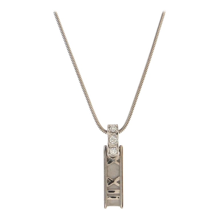 Tiffany & Co. Atlas Bar Pendant Necklace 18K White Gold with Diamonds