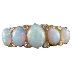 Late Victorian to Edwardian Five Stone Opal Ring in 18ct Yellow Gold