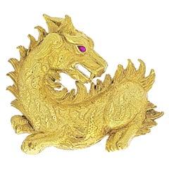 David Webb 18K Yellow Gold Dragon Brooch