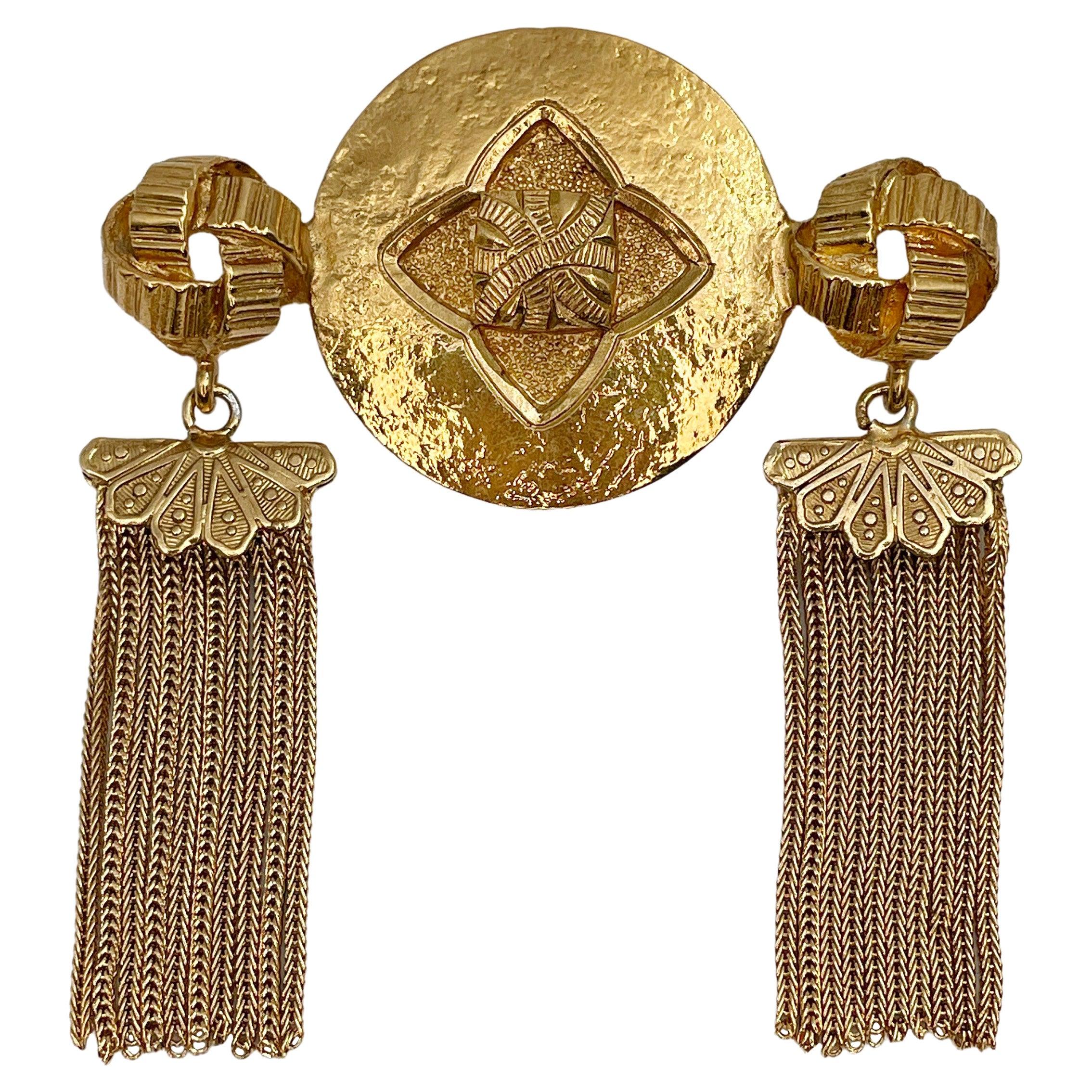Vintage Yves Saint Laurent Gold Tone Tassel Brooch Pendant