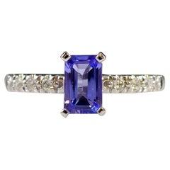 Emerald Cut Tanzanite Solitaire Ring, Diamond Shoulders, 18ct White Gold