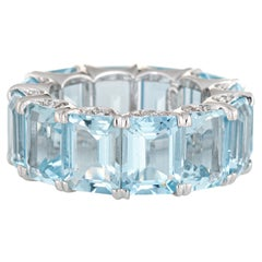 Aquamarine Eternity Ring 18K Estate Diamond Crescents Gemstone Band