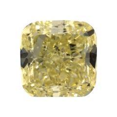 GIA Certified 5.04 Carat Cushion Fancy Yellow Diamond