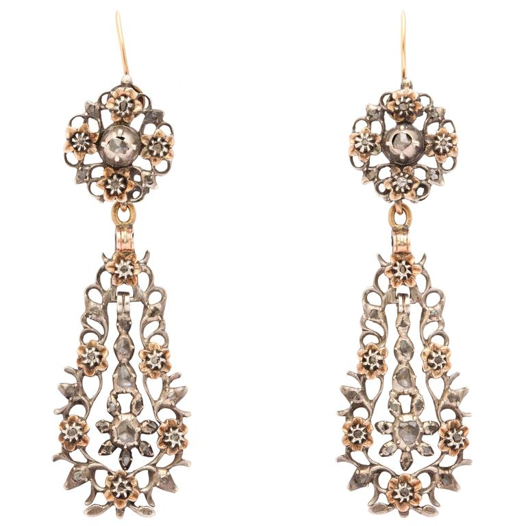 15 kt and Sterling Flemish Chandelier Earrings c.1820