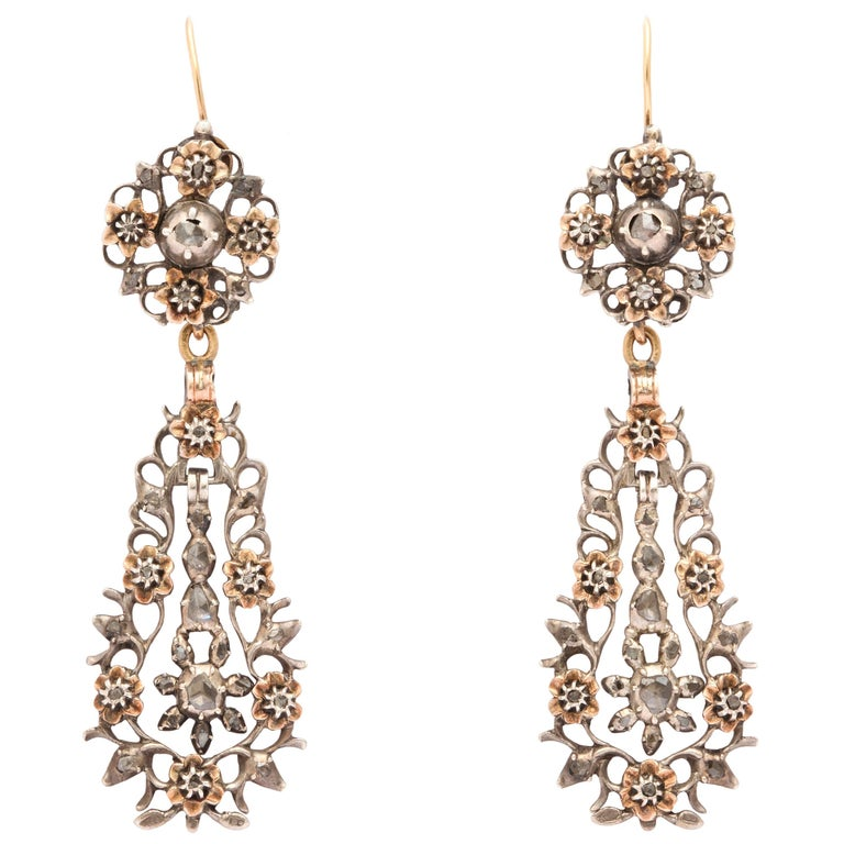 15 kt and Sterling Flemish Chandelier Earrings c.1820  For Sale