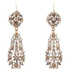 Stunning Silver Diamond Gold Chandelier Earrings