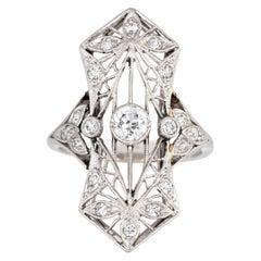 Antique Edwardian Diamond Ring Platinum Flower Design Vintage Plaque Jewelry 5