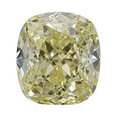 GIA Certified 3.69 Carat Cushion Yellow Diamond