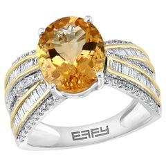 Effy 14 Karat White and Yellow Gold Citrine and Diamond Ring