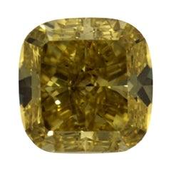 GIA Certified 3.04 Carat Cushion Yellow Diamond