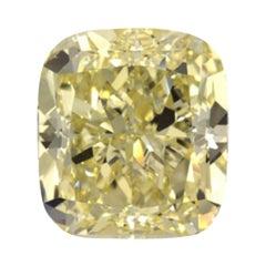 GIA Certified 4.01 Carat Cushion Yellow Diamond