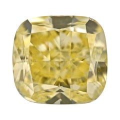 GIA Certified 3.67 Carat Cushion Yellow Diamond