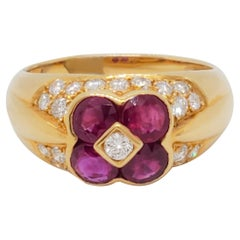 Ruby and Diamond Floral Design Ring in 18k Yellow Gold