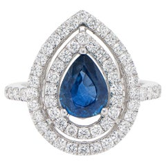 Pear Cut 1.27 Carat Blue Sapphire Ring Set with Double Diamond Halo 0.85 Carats