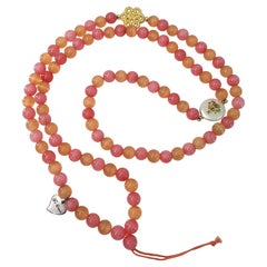 Pink Angelite and Peach Cat Eye Beads Strap with 2 Charms