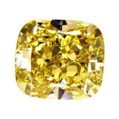 GIA Certified 3.01 Carat Cushion Yellow Diamond