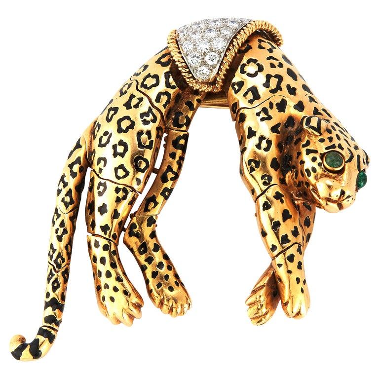 David Webb Panther Brooch For Sale