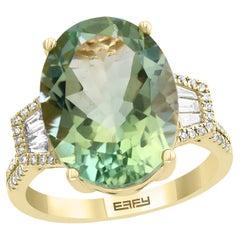 Effy 14 Karat Yellow Gold Green Amethyst and Diamond Ring