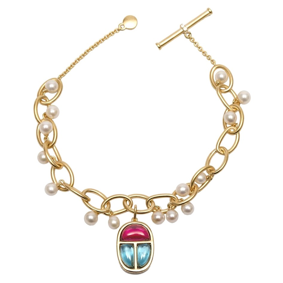 Ammanii Charm Scarab Link Bracelet with Freshwater Pearls in Vermeil Gold