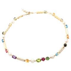 Bulgari Allegra Diamond Color Stones Pearl Yellow Gold Necklace