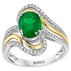 Effy 14 Karat White & Yellow Gold Emerald and Diamond Ring