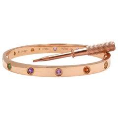 Cartier 'Love' Rose Gold Multi-Color Rainbow Bracelet