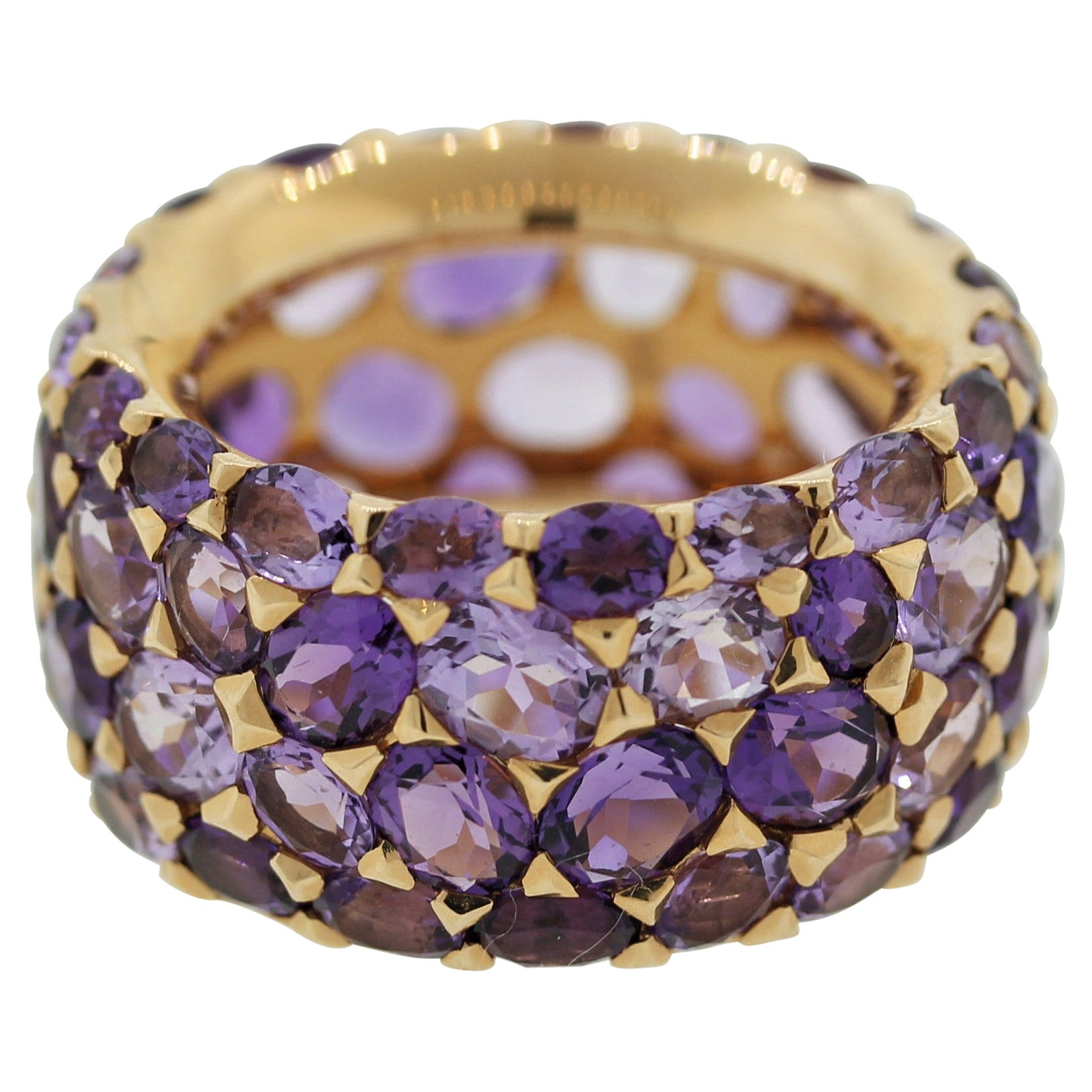 Amethyst Gold Wide Eternity Band Ring