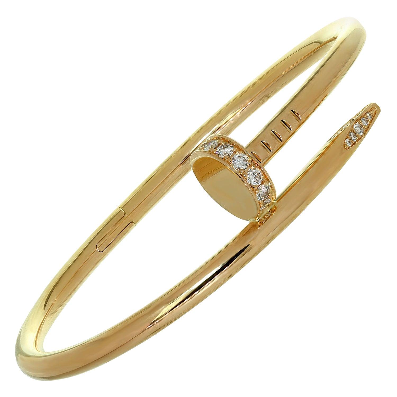 Authentic Cartier Juste un Clou Diamond Rose Gold Bracelet 16 Box Papers