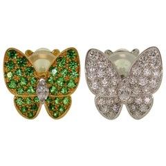Van Cleef & Arpels Diamond Tsavorite Yellow & White Gold Butterfly Earrings