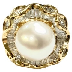 2 Carat Baguette Diamond and South Sea Pearl Ring in 18K