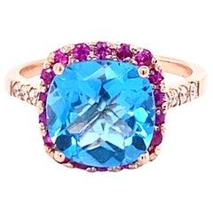 4.51 Carat Diamond Sapphire and Topaz 14 Karat Rose Gold Cocktail Ring