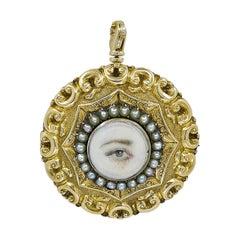 Georgian 'Lover's Eye' Miniature Painting Pendant / Pin