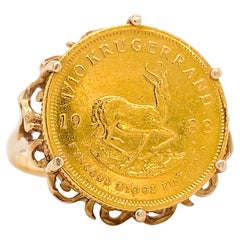 Krugerrand Coin Ring, Genuine South African Coin Ring, 1983 Coin