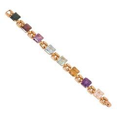 Retro Gold and Multi-Colored Rectangular Gemstone Bracelet
